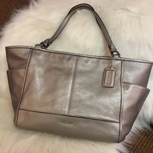 COACH Platinum Leather PARK CARRIE Carry All 29898